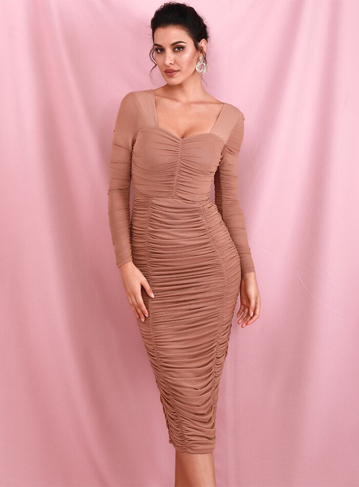 Nude Square Collar Elastic Mesh Slim Long Sleeve Over-The-Knee Party Dress (With Lining) LM81941-1
