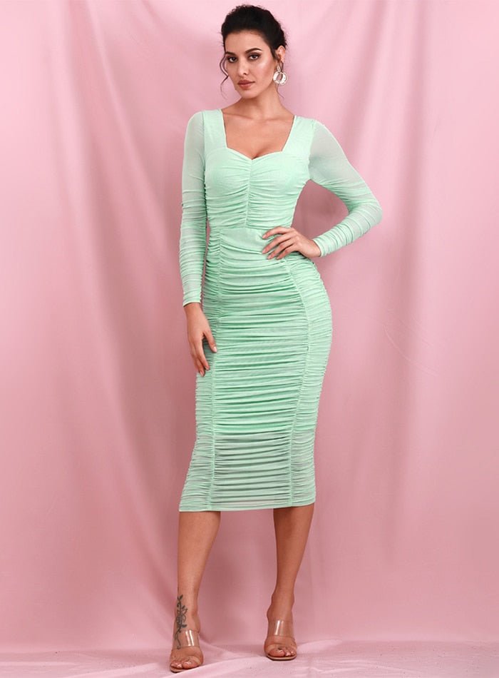 Sexy Square Collar Light Green Elastic Mesh Slim Long Sleeve Over-The-Knee Party Dress (With Lining) LM81941-1