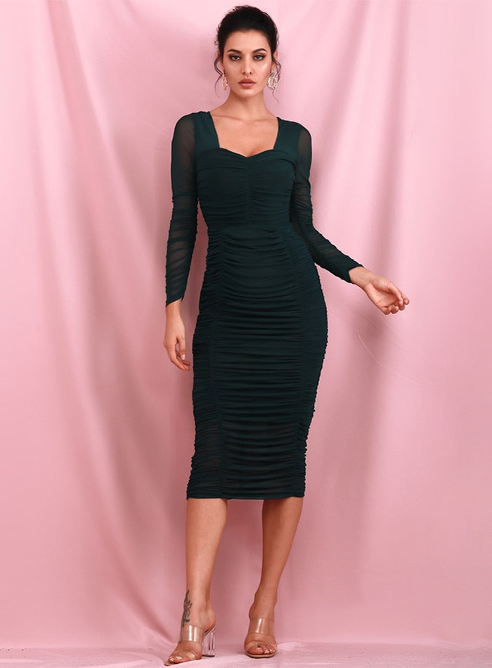 Sexy Deep Green Square Collar  Elastic Mesh Slim Long Sleeve Over-The-Knee Party Dress (With Lining) LM81941-1