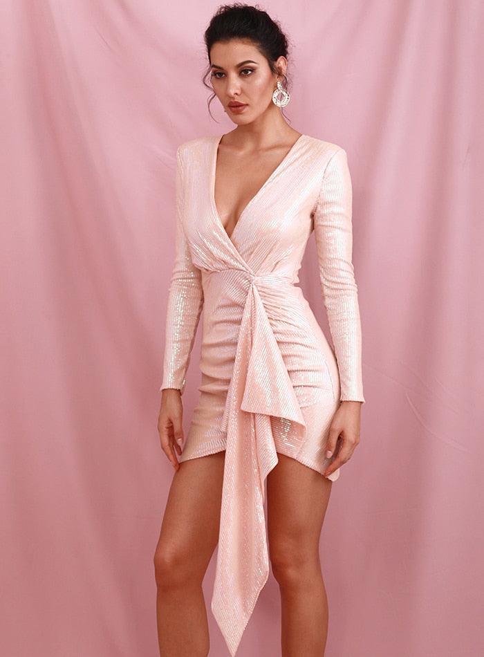 Sexy Pink Deep V-Neck Ribbon Pleats Sequins Bodycon Party Mini Dress LM82190