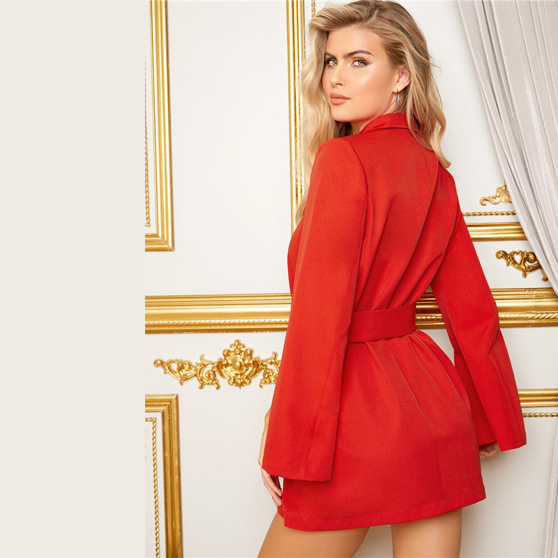 Red Split Sleeve Adjustable Belted Blazer Dress Women 2019 Fall Elegant Ladies Outerwear Casual Longline Solid Blazers