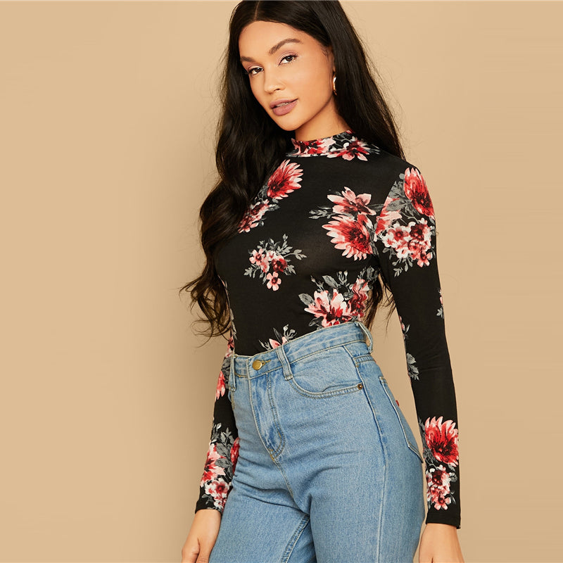 Floral Print Stand Collar Top Women Elegant Basics Ladies Tees 2019 Fall Streetwear Slim Fit Multicolor Pullover Tops