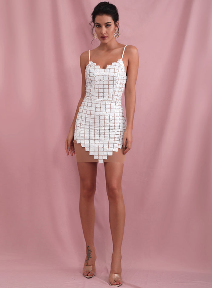 Sexy White V-Neck Plaid Sequins And Mesh Stitching Bodycon Party Mini Dress LM81305