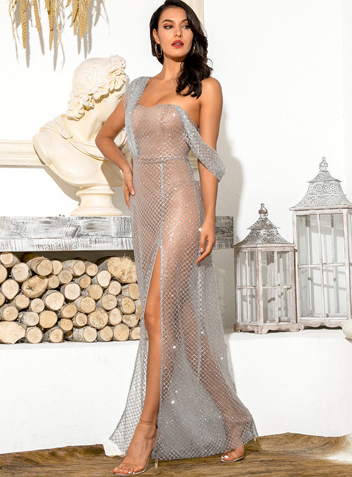 Sexy Silver Tube Top Lattice Glitter Glued Material Draping Split Party Maxi Dress LM82148