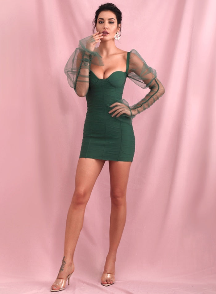 Sexy Green Tube Top Smocked Puff Sleeve Mesh Bodycon Party Mini Long Sleeve Dress LM90142