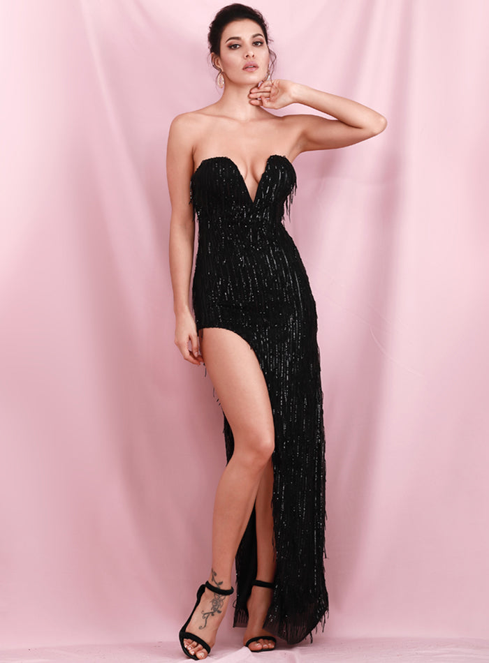 Sexy Black Wrapped V-Neck One Side Cut Out Elastic Tassel Sequins Fit Party Maxi Dress LM82107