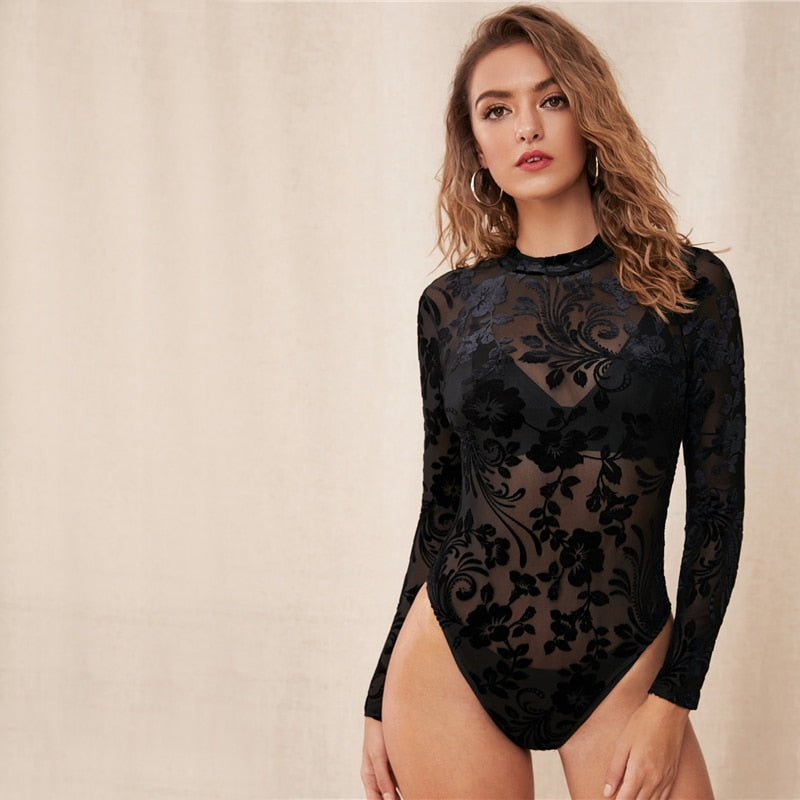 Black Floral Print Sheer Mesh Bodysuit Women Stand Collar Bodysuit 2019 New Fashion Fall Sexy Skinny Bodysuits