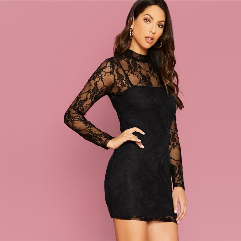 Mock-neck Form Fitted Lace Dress Without Camisole Women Solid Sexy Bodycon Mini Dress 2019 Autumn Slim Sheer Dresses