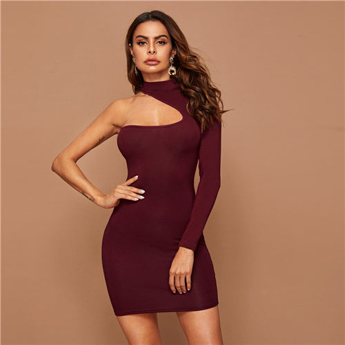 Burgundy Asymmetrical One Shoulder Bodycon Dress Women Solid Long Sleeve Mini Dress 2019 Autumn Elegant Pencil Dresses