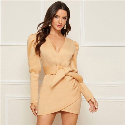 COLROVIE Beige Gigot Sleeve Self Belted Wrap Dress Women Bodycon Solid V neck Mini Dress 2019 Autumn Long Sleeve Dresses