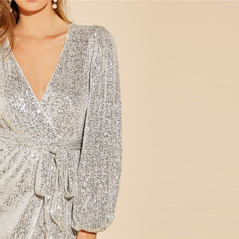 Grey Lantern Sleeve Wrap Belted Sequin Dress Women Solid Long Sleeve Mini Dress 2019 Autumn High Waist Sexy Dresses
