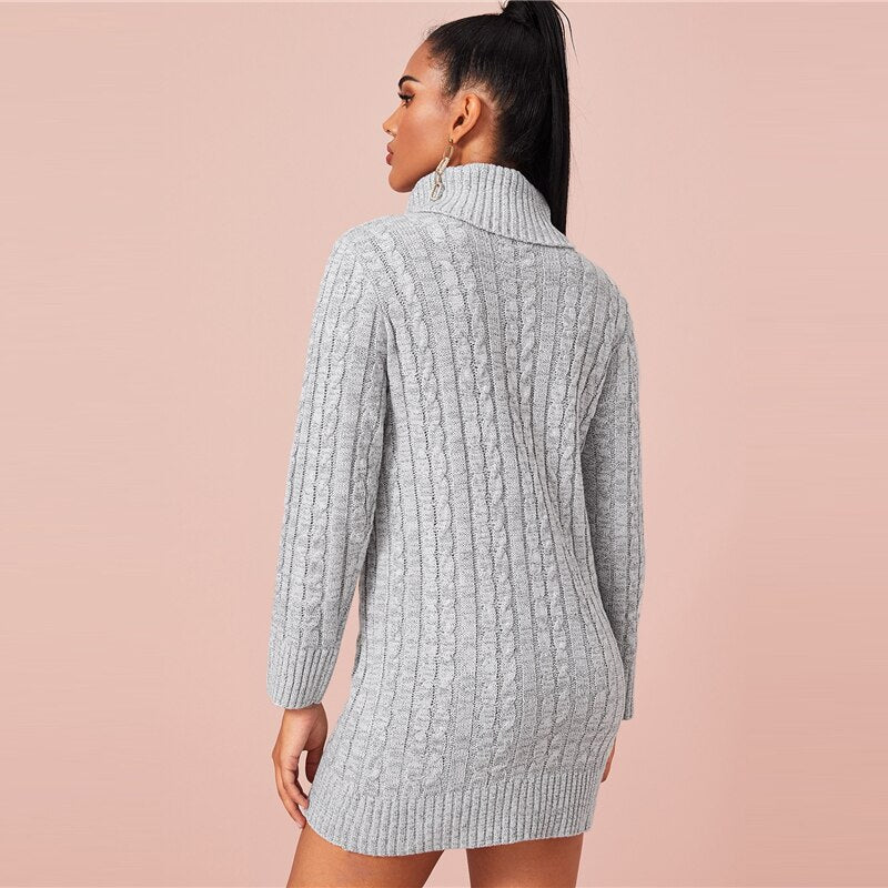 Grey Turtleneck Cable Knit Sweater Dress Women Elegant Solid Pencil Mini Dress 2019 Autumn Winter Slim Female Dresses