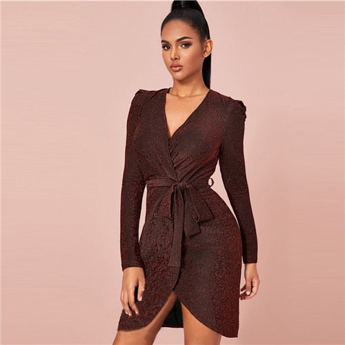 Burgundy Belted Wrap Glitter Bodycon Dress Women V neck Solid Sexy Mini Dress 2019 Autumn Slim Glamorous Dresses