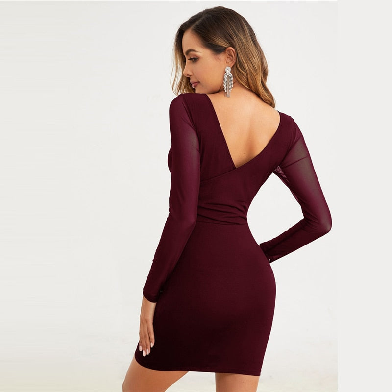 Burgundy Double V-Neck Mesh Sleeve Bodycon Dress Women Solid Long Sleeve Mini Dress 2019 Autumn Sexy Pencil Dresses