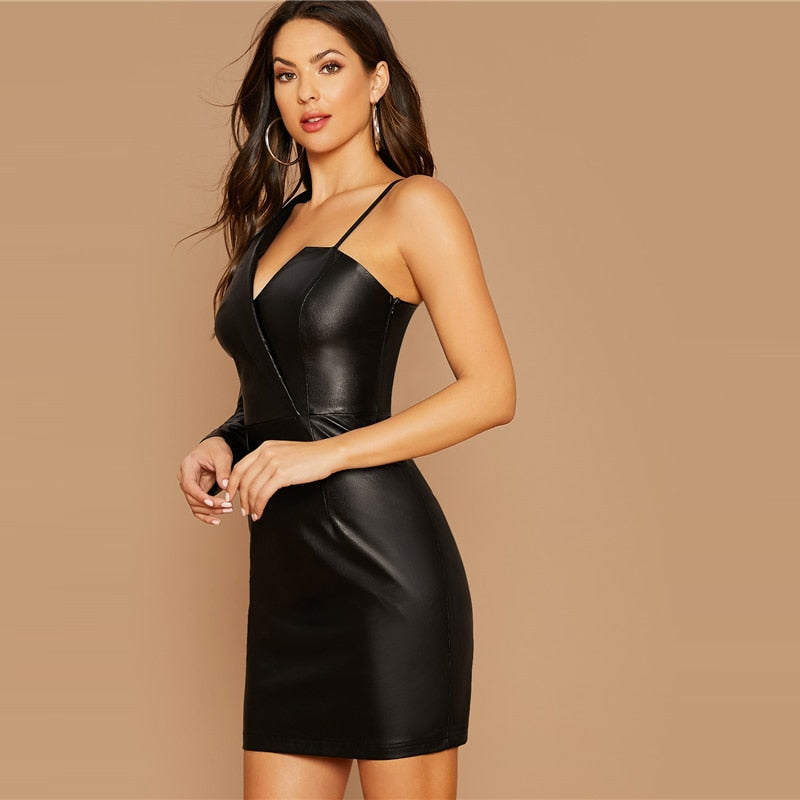 Black Asymmetrical Neck PU Dress Without Belt Women High Waist Solid Short Dress 2019 Glamorous Mini Pencil Dresses