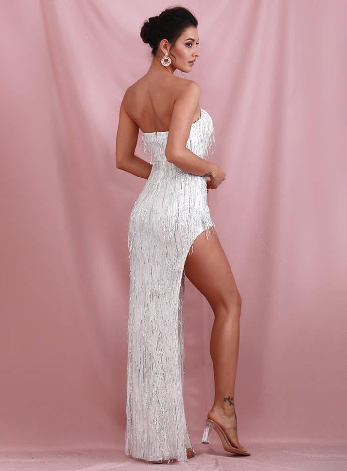 Sexy Silver Wrapped V-Neck One Side Cut Out Elastic Tassel Sequins Fit Party Maxi Dress LM82107