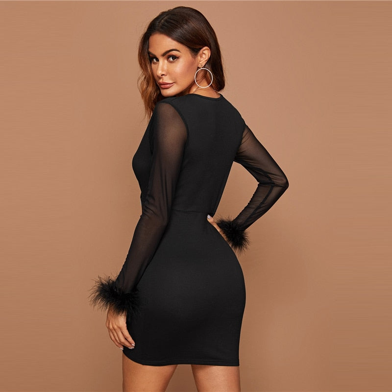 Plunge Neck Faux Fur Cuff Sheer Sleeve Bodycon Dress Women Solid Pencil Mini Dress 2019 High Waist Glamorous Dresses