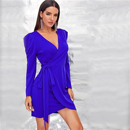 Solid Wrap Knotted Puff Sleeve Dress Women Bodycon Blue Sexy Mini Dress 2019 Fall High Waist Elegant Belted Dresses