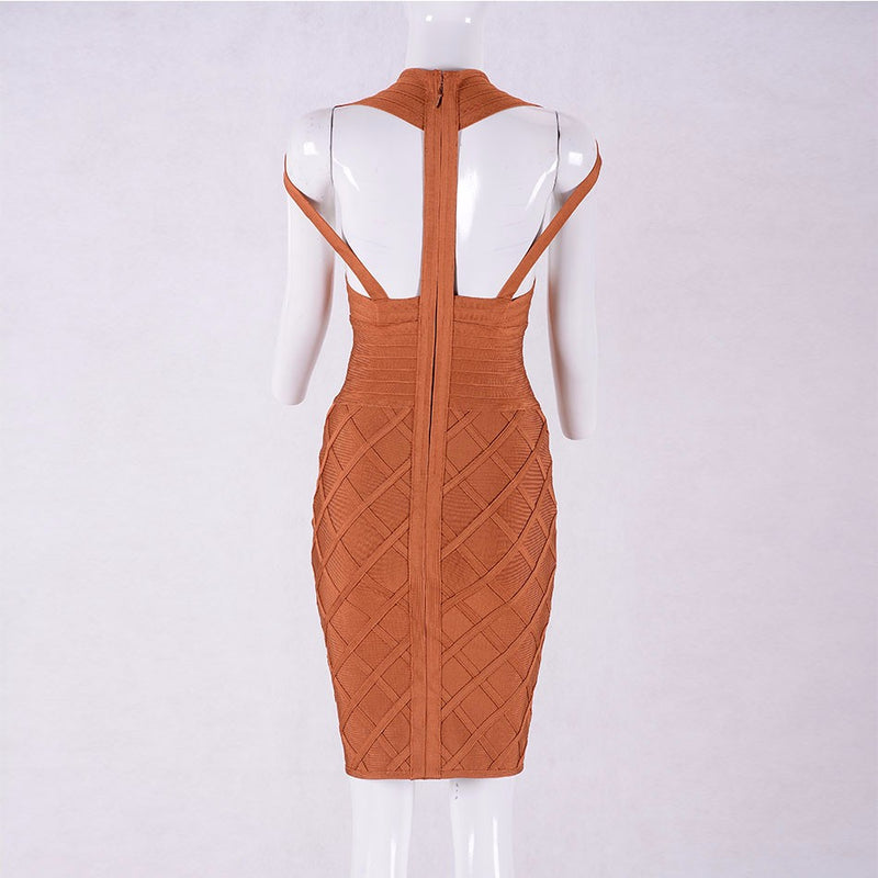 Orange Sleeveless V-Neck Hollow Out Bandage Dress LAVELIQ - Laveliqus