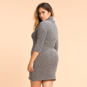 Plus Size Casual Solid Turtleneck Knitted Bodycon Dress LAVELIQ - Laveliqus