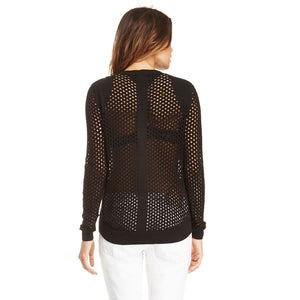 Solid Black Long Sleeve Casual Jumper Crew Neck Pullover Sexy Hollow Out Fishnet Sweater Laveliq - Laveliqus