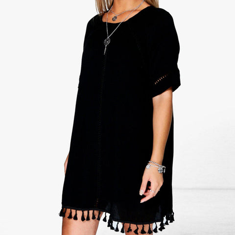 Plus Size Lace Dress O-Neck Short Sleeve Mini Dress LAVELIQ