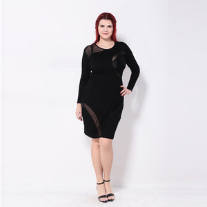 Plus Size Pencil Mesh Patchwork Sheer Long Sleeve Mini Dress LAVELIQ - Laveliqus