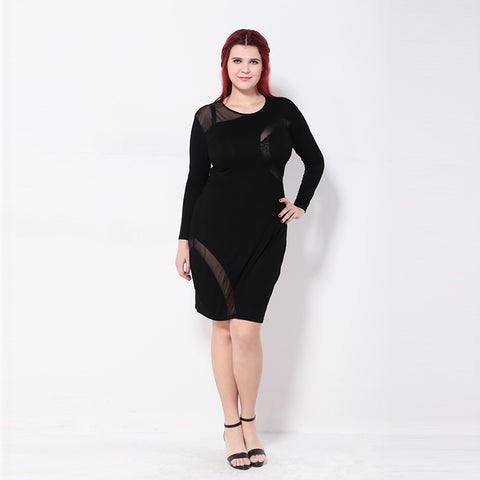Plus Size Pencil Mesh Patchwork Sheer Long Sleeve Mini Dress LAVELIQ