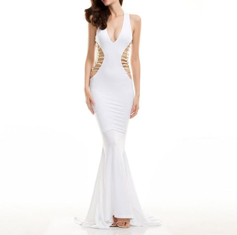 Sexy V-Neck Cut Out Maxi Dress White  LAVELIQ