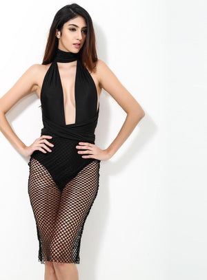 Black Sexy V-Neck Halter Mesh Party Dress - Laveliqus
