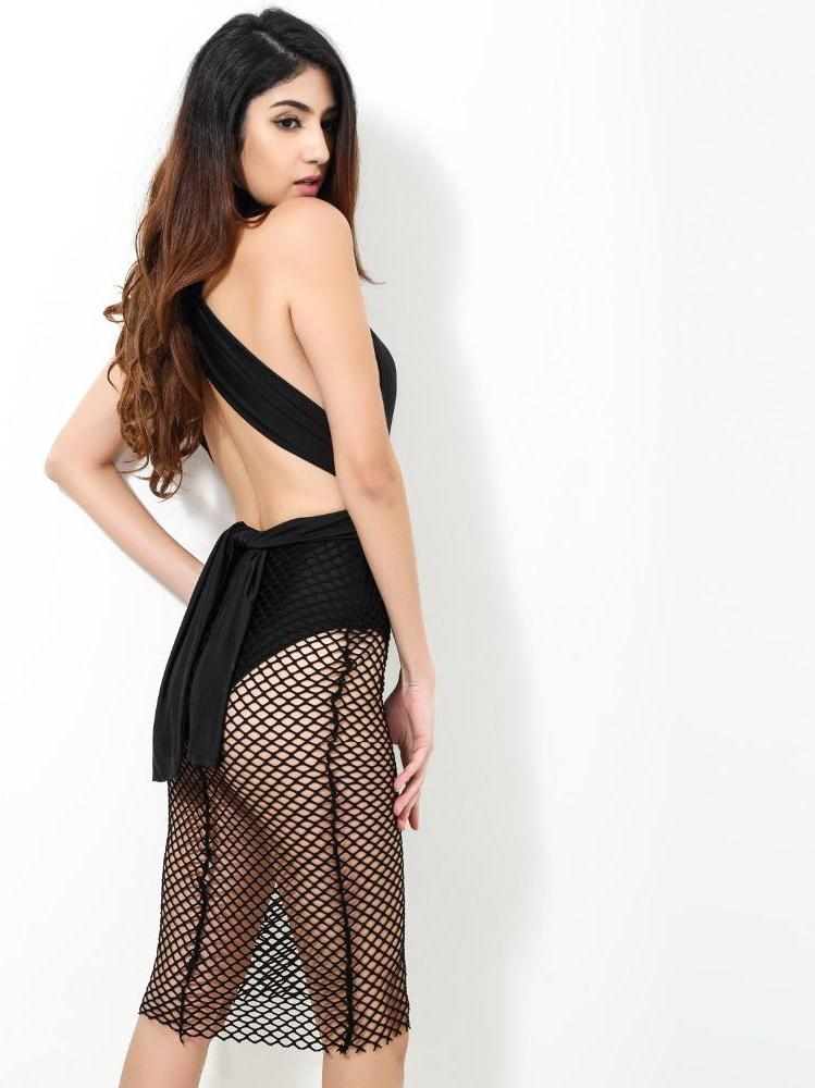 Black Sexy V-Neck Halter Mesh Party Dress - Laveliq