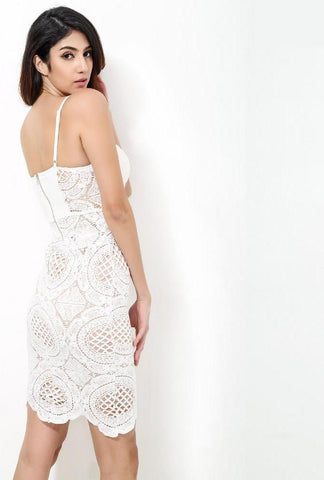 White  Sexy Lace Strapless Party Dress Laveliq
