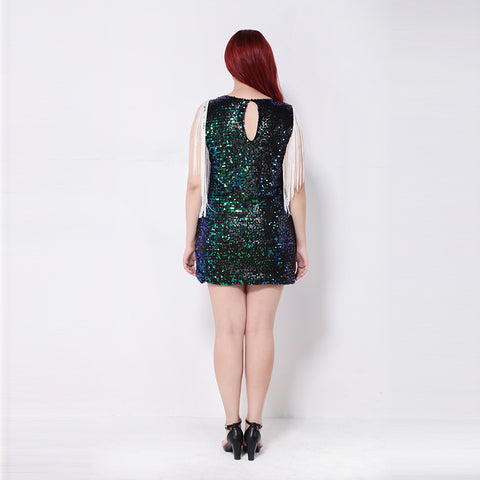 Plus Size Tassel Hollow Out Party Club Pencil Summer Sequin Dress LAVELIQ