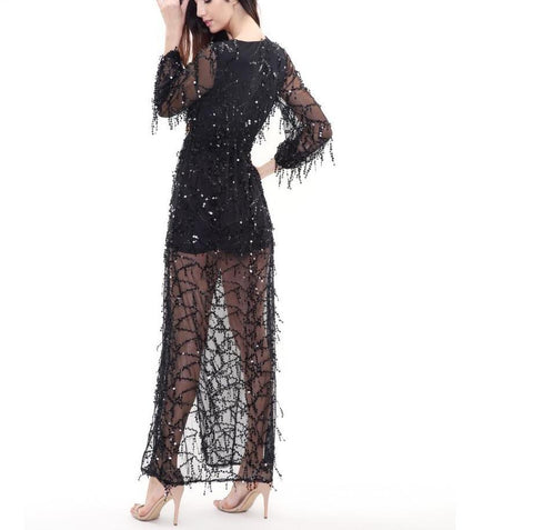 Black Sequined Fringed V-Neck Maxi Dress  LAVELIQ