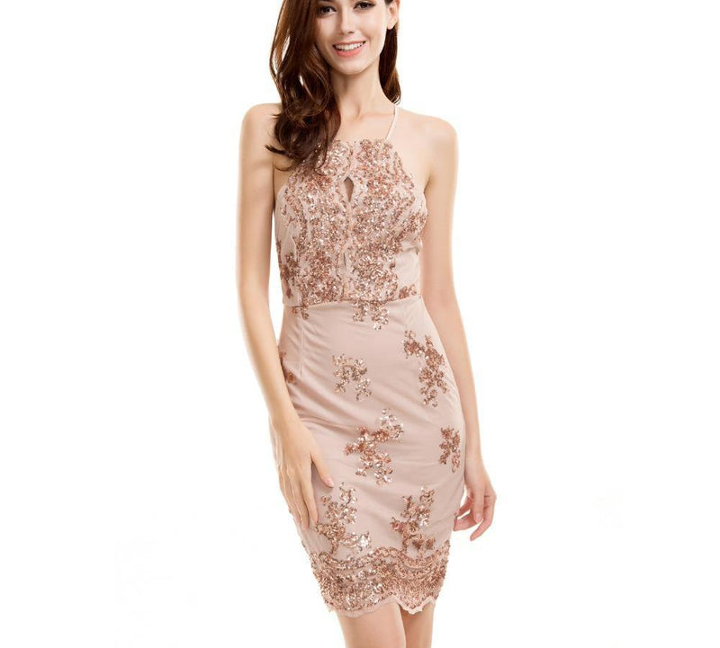 Sexy Cut Out Gold Sequined Halter Party Dress Laveliq - Laveliqus
