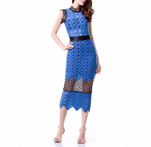 Blue Lace Halter  High Collar Dress LAVELIQ - Laveliqus