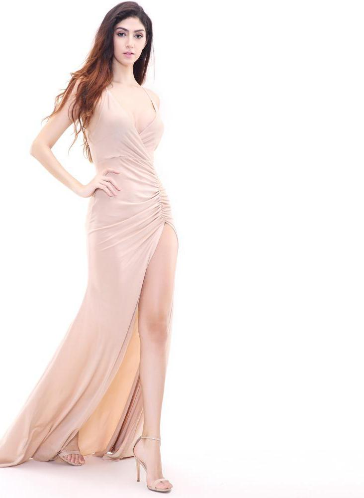 Nude V-neck Fishtail Dress Folds Laveliq - Laveliqus