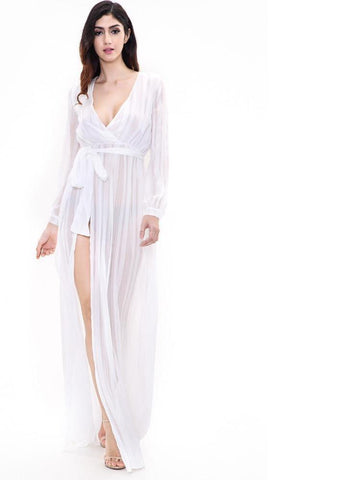 White V-Neck Slit Maxi Dress Laveliq