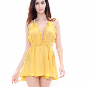 Yellow Ruffled V-Neck Halter Jumpsuits  Laveliq - Laveliqus
