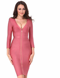 New Knee Length V-neck Bandage Dress Women Bodycon Dress Pink Long Sleeve Zipper Sexy  Party Dresses Laveliq - Laveliqus