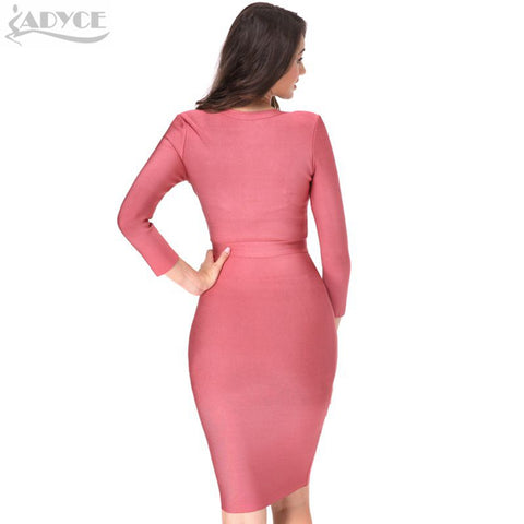 New Knee Length V-neck Bandage Dress LAVELIQ
