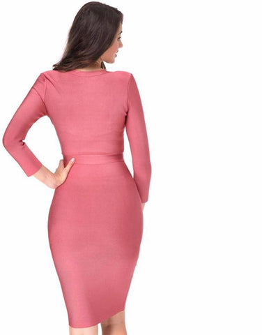 New Knee Length V-neck Bandage Dress Women Bodycon Dress Pink Long Sleeve Zipper Sexy  Party Dresses Laveliq