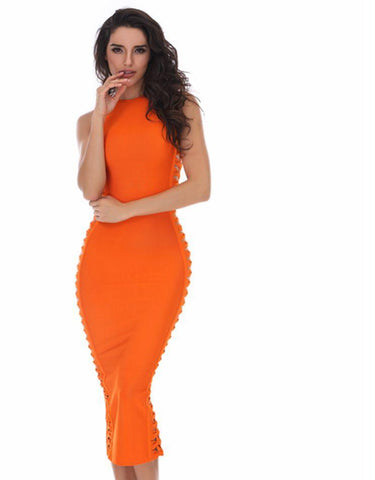 Orange Black Bodycon Midi Bandage Dress LAVELIQ