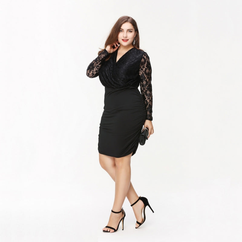 Clothing Elegant Sexy Lace Patchwork Dress Bodycon Slim Plus Size Dress Laveliq - Laveliqus