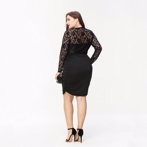 Clothing Elegant Sexy Lace Patchwork Dress Bodycon Slim Plus Size Dress Laveliq