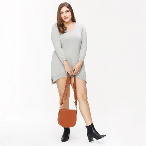 Plus Size Casual Solid Loose Pullover Asymmetrical Hem Sweater LAVELIQ