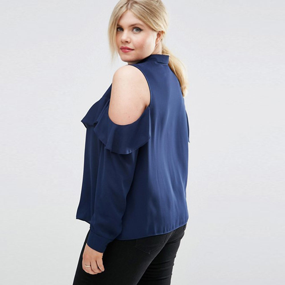 Plus Size Women Clothing Cold Shoulder Ruffle Detail Blouse LAVELIQ - Laveliqus