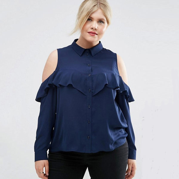 Plus Size Women Clothing Cold Shoulder Ruffle Detail Blouse LAVELIQ