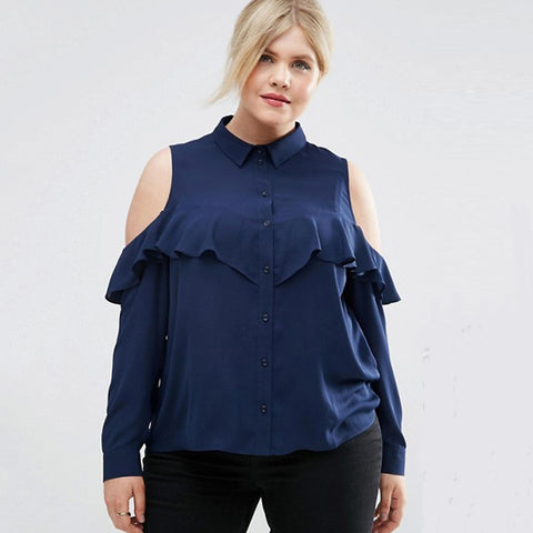 663298c3489e3 Plus Size Women Clothing Cold Shoulder Ruffle Detail Blouse LAVELIQ ...