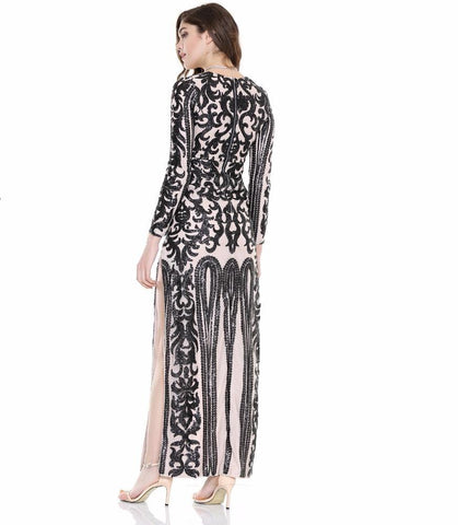 Geometry V-Neck Cut Out Sequins Maxi Dress Black  LAVELIQ